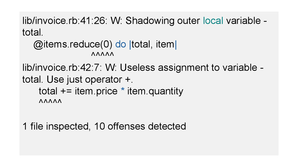 lib/invoice.rb:41:26: W: Shadowing outer local ...