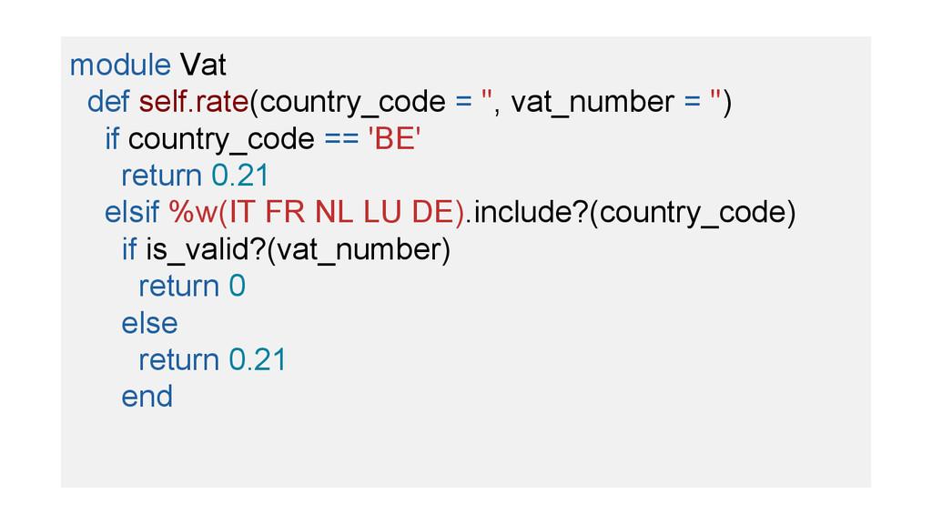 module Vat def self.rate(country_code = '', vat...