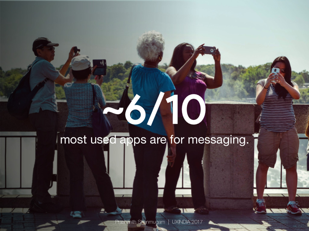 ~6/10 most used apps are for messaging. Prasha...