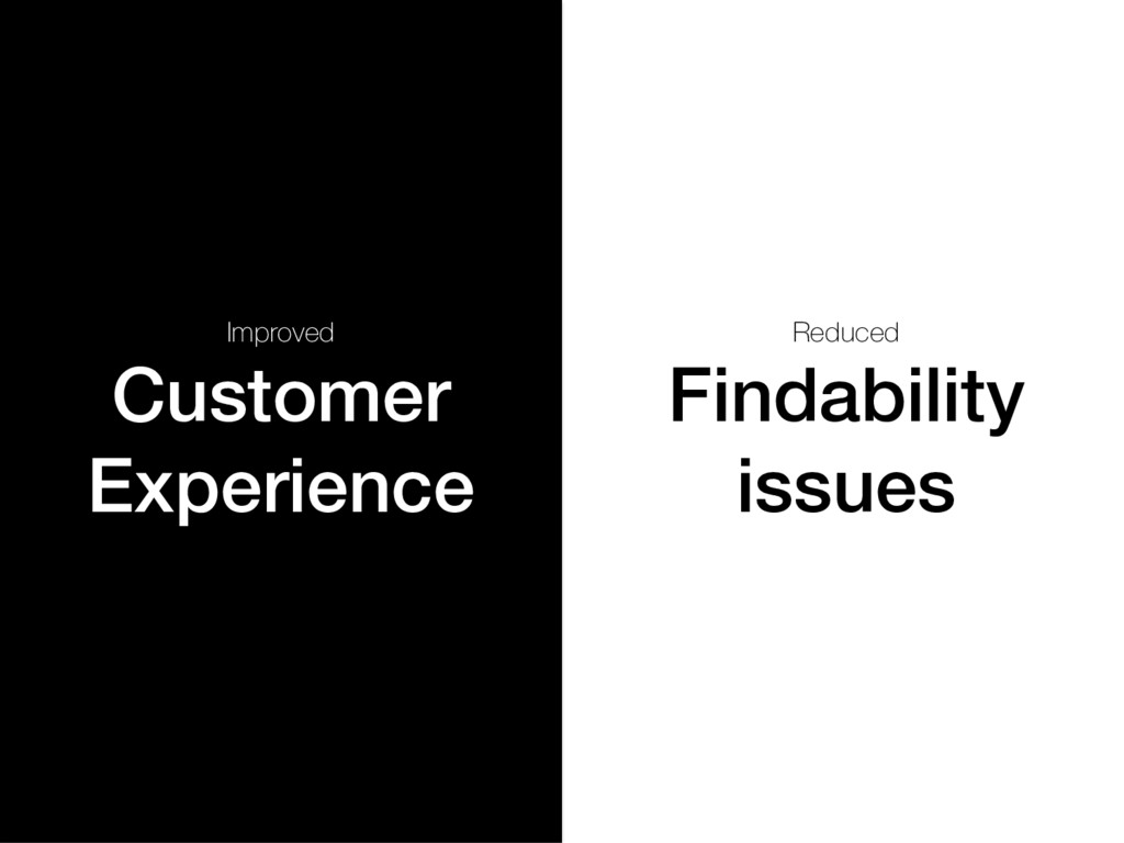 Improved Customer Experience! Reduced Findabili...