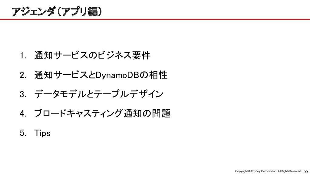 アジェンダ(アプリ編)  1. 通知サービス ビジネス要件 2. 通知サービスとDyna...