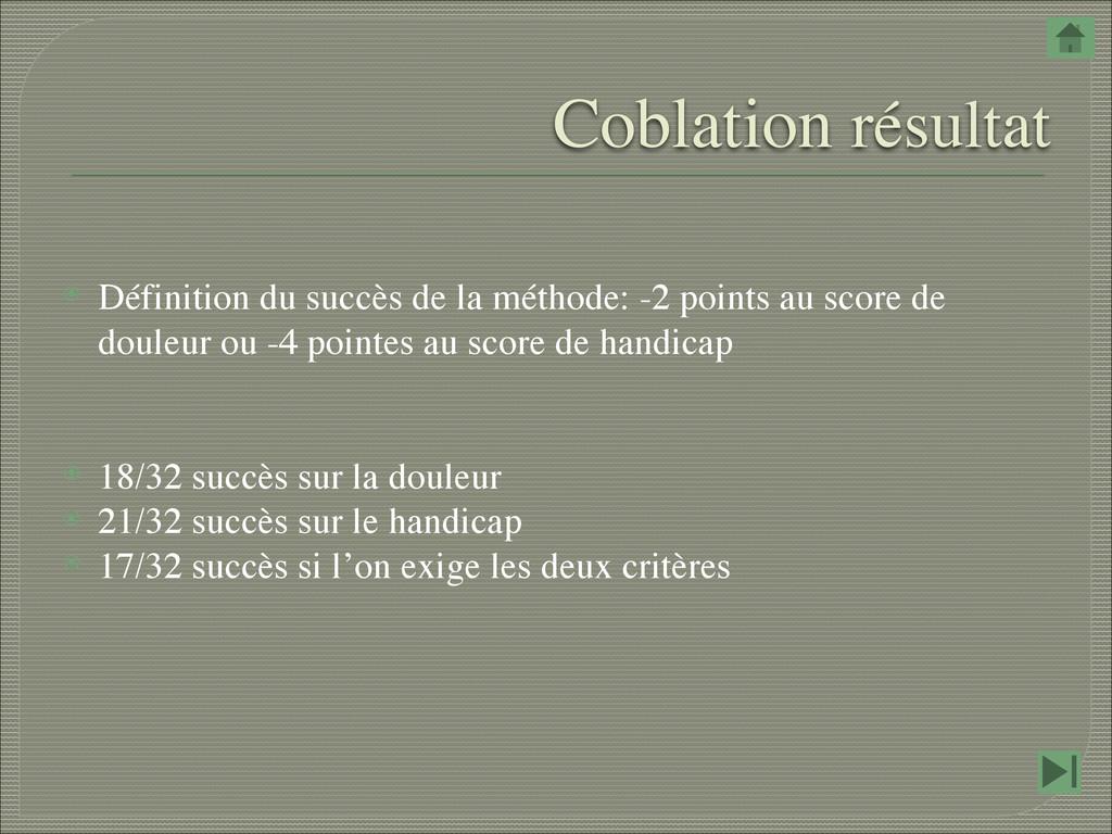 Coblation résultat ⦿ Définition du succès de la...