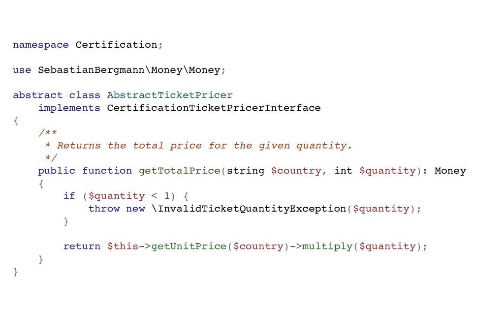 namespace Certification; use SebastianBergmann\...