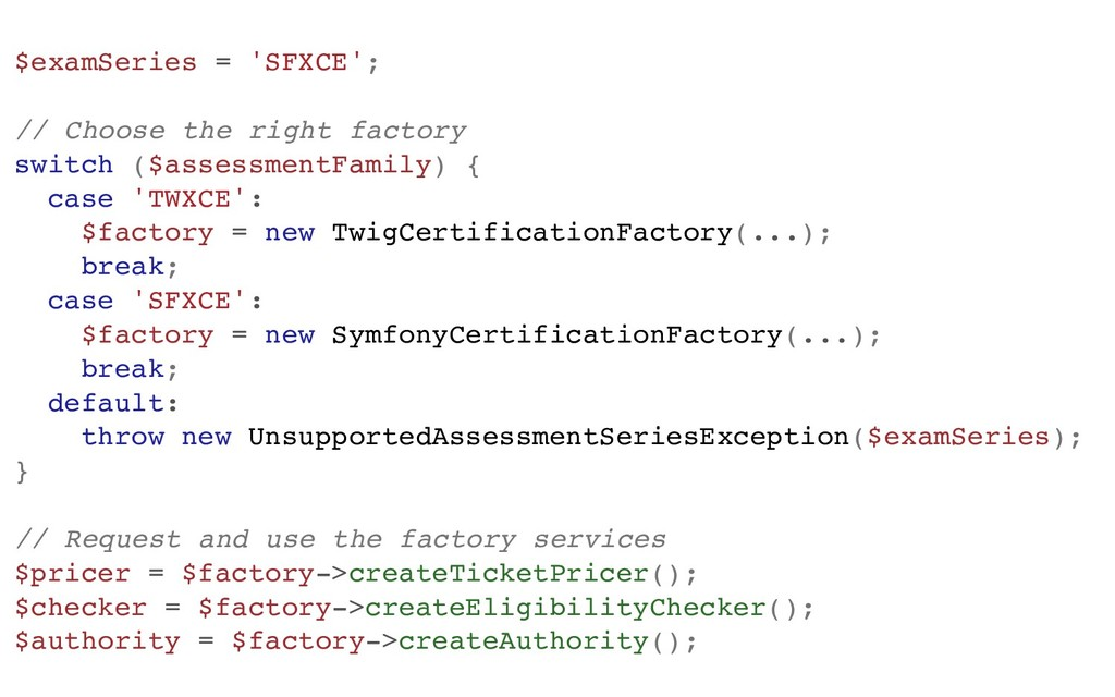 $examSeries = 'SFXCE'; // Choose the right fact...