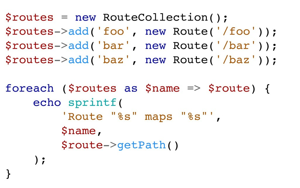 $routes = new RouteCollection(); $routes->add('...