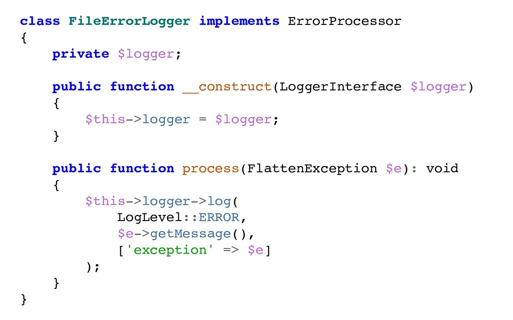 class FileErrorLogger implements ErrorProcessor...