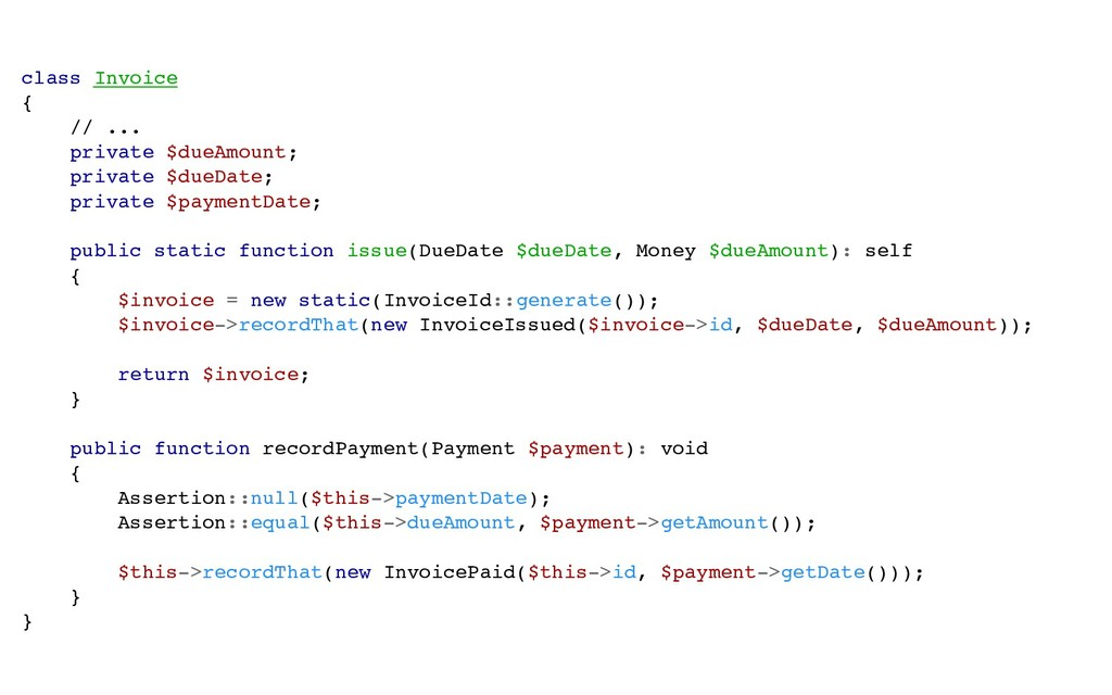 class Invoice { // ... private $dueAmount; priv...