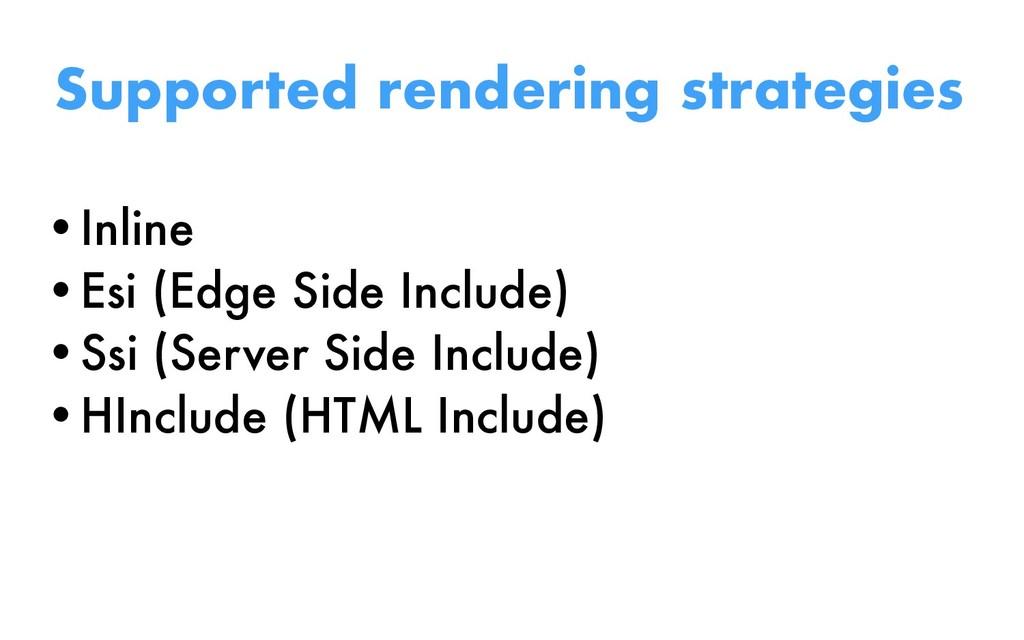 Supported rendering strategies •Inline •Esi (Ed...