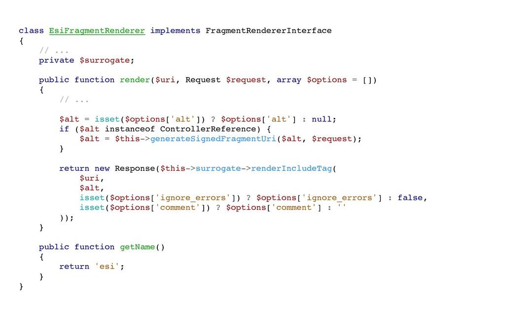 class EsiFragmentRenderer implements FragmentRe...