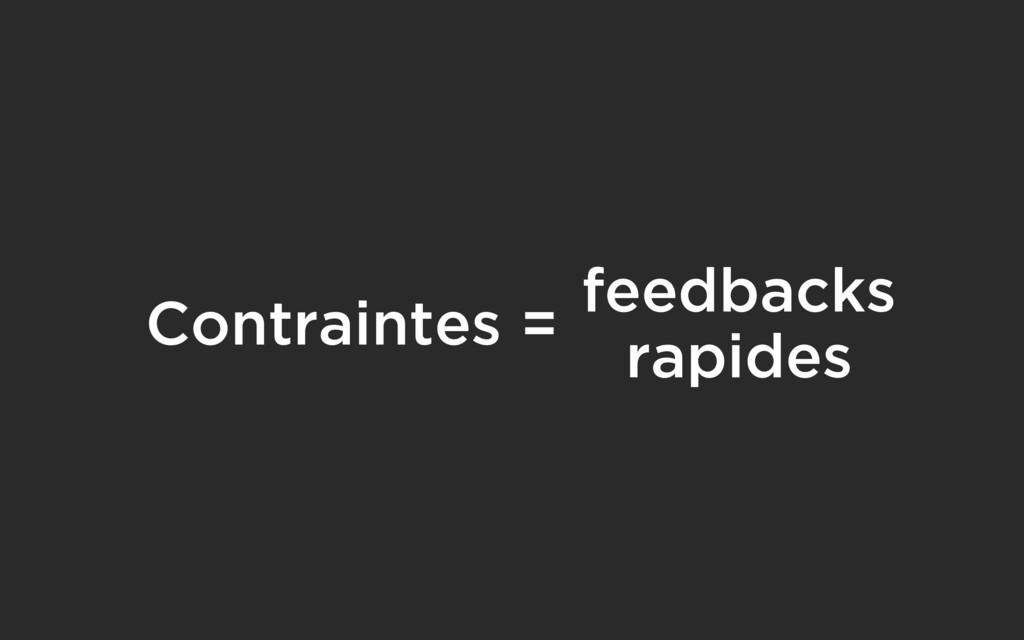 Contraintes = feedbacks rapides