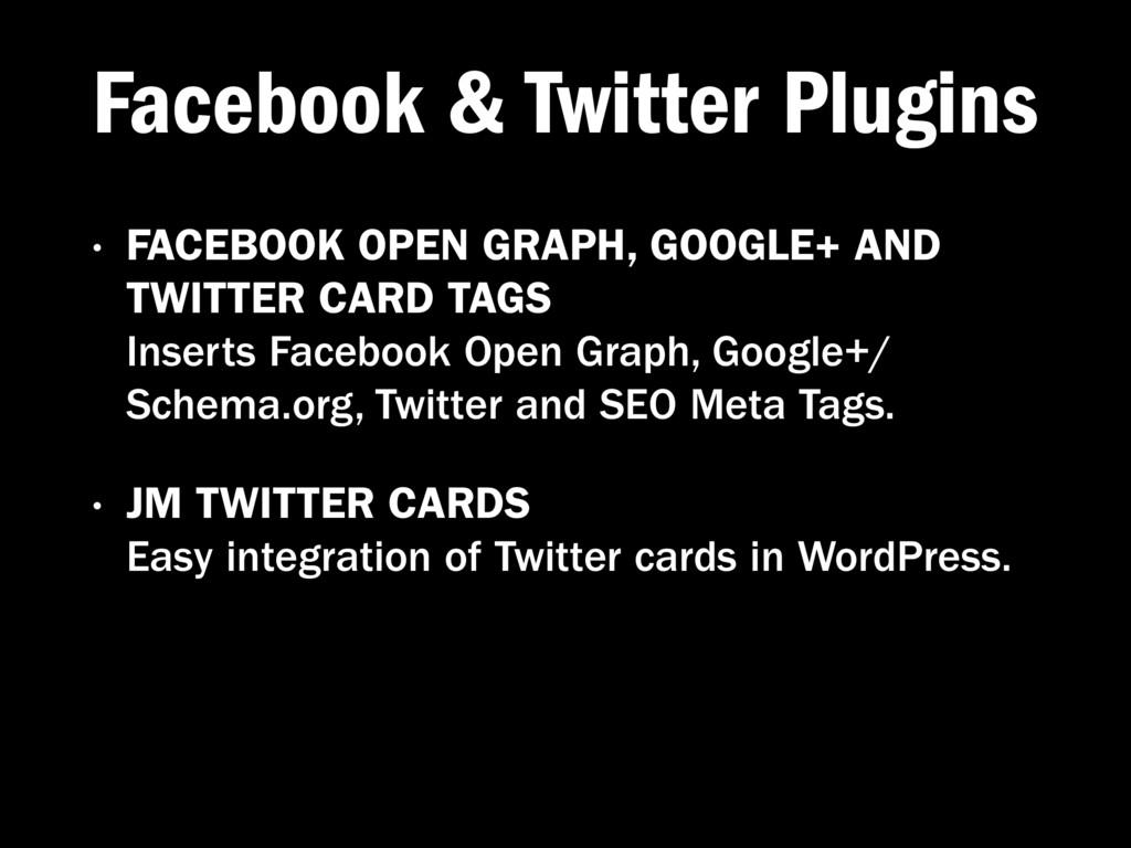 Facebook & Twitter Plugins • FACEBOOK OPEN GRAP...