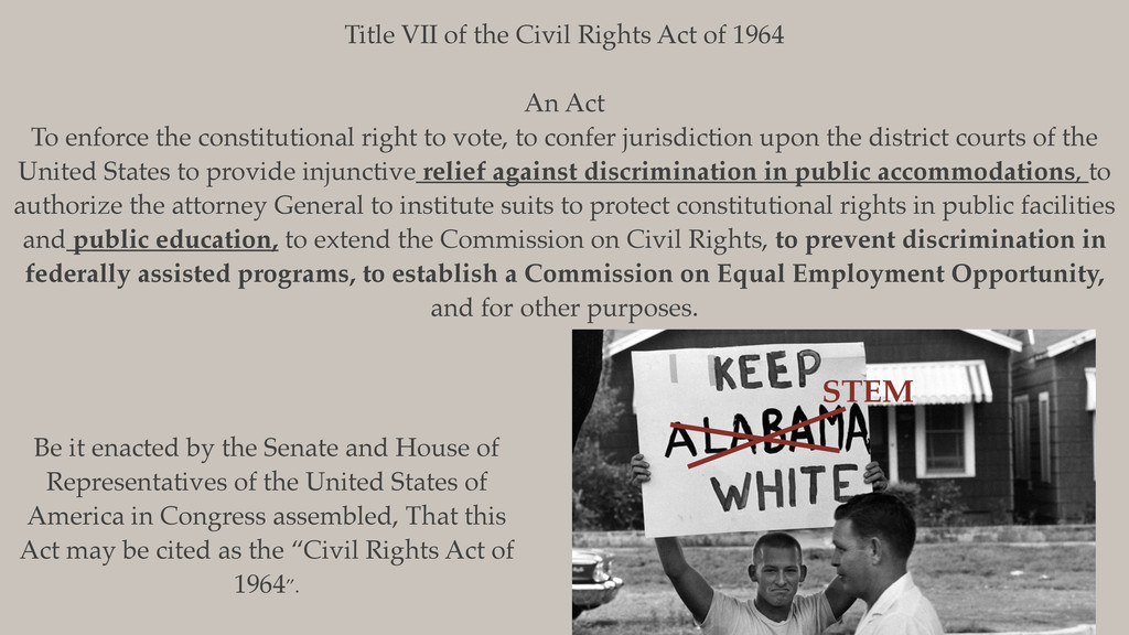Title VII of the Civil Rights Act of 1964 An Ac...
