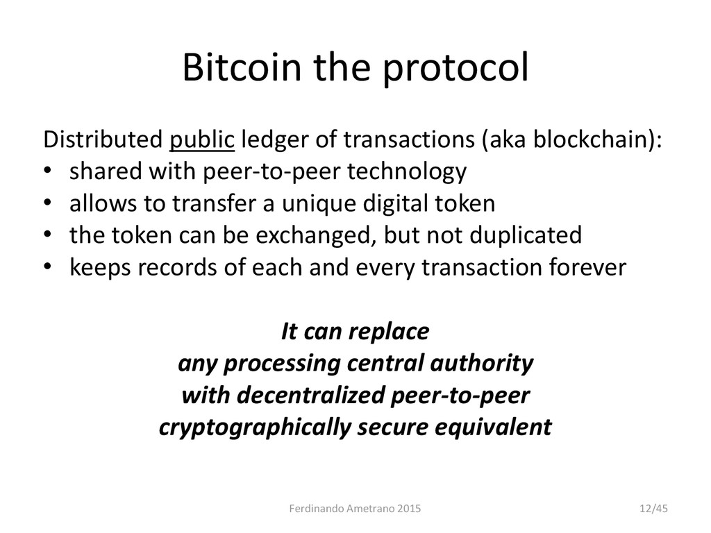 Bitcoin the protocol Distributed public ledger ...