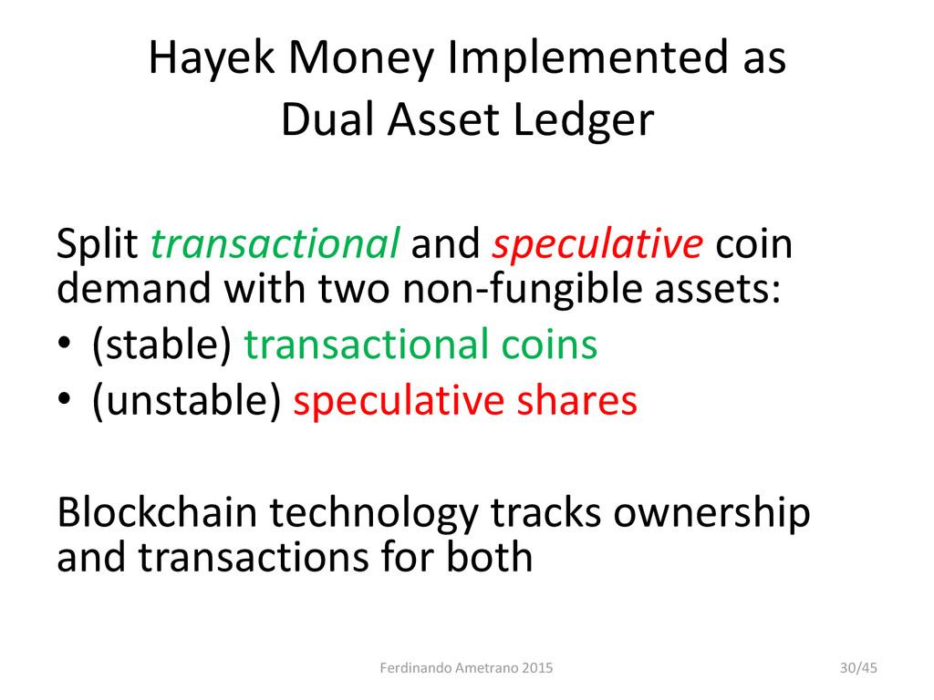 Hayek Money Implemented as Dual Asset Ledger Sp...
