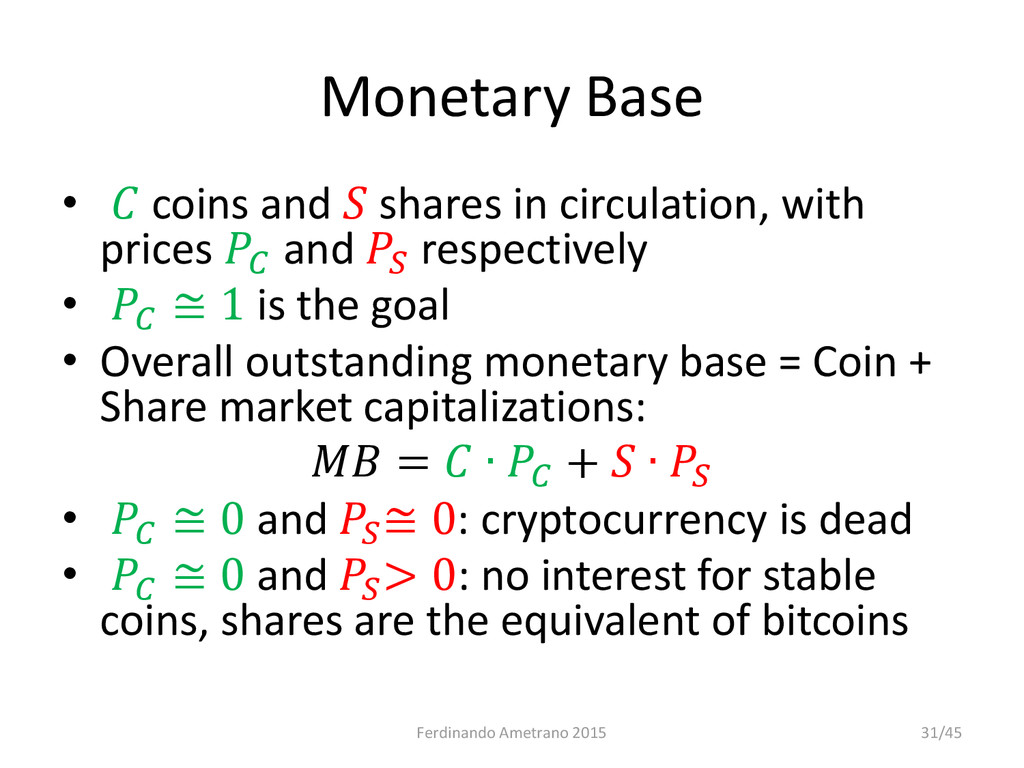 Monetary Base •  coins and  shares in circulati...