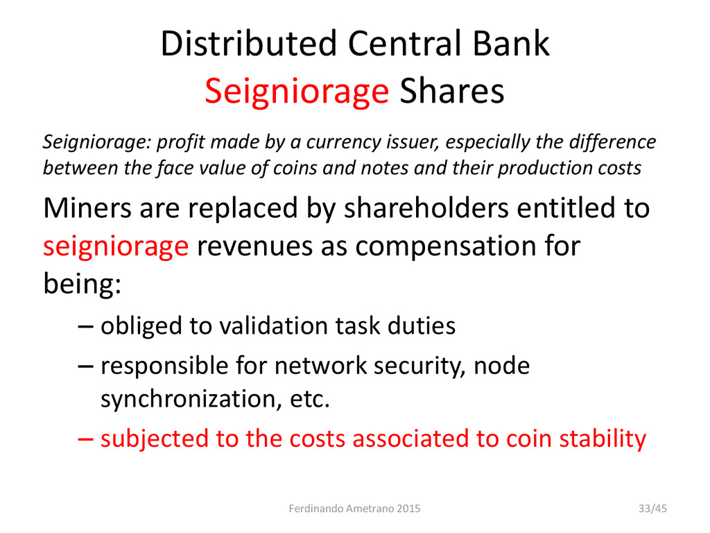 Distributed Central Bank Seigniorage Shares Sei...