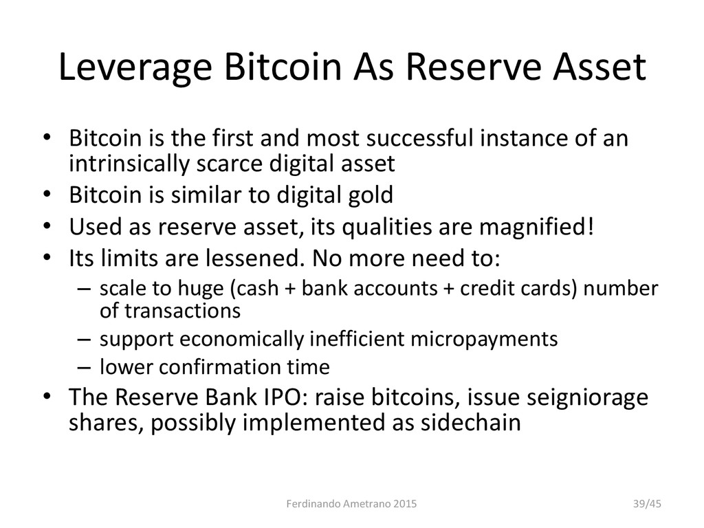 Leverage Bitcoin As Reserve Asset • Bitcoin is ...