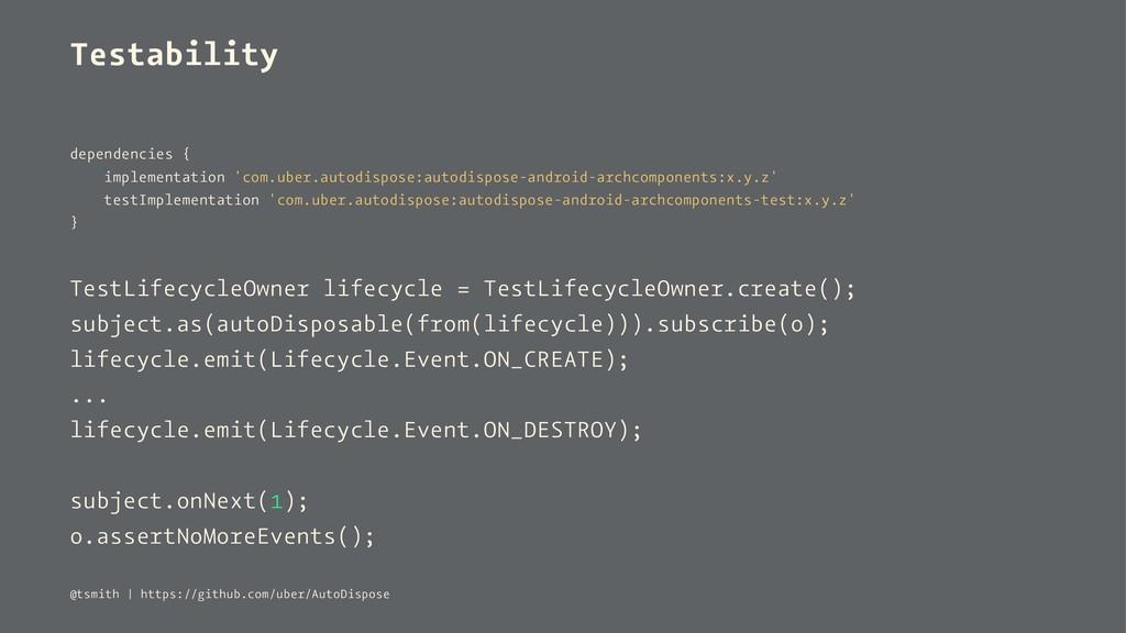 Testability dependencies { implementation 'com....