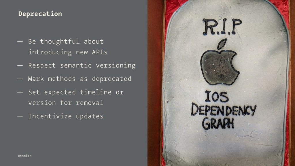 Deprecation — Be thoughtful about introducing n...