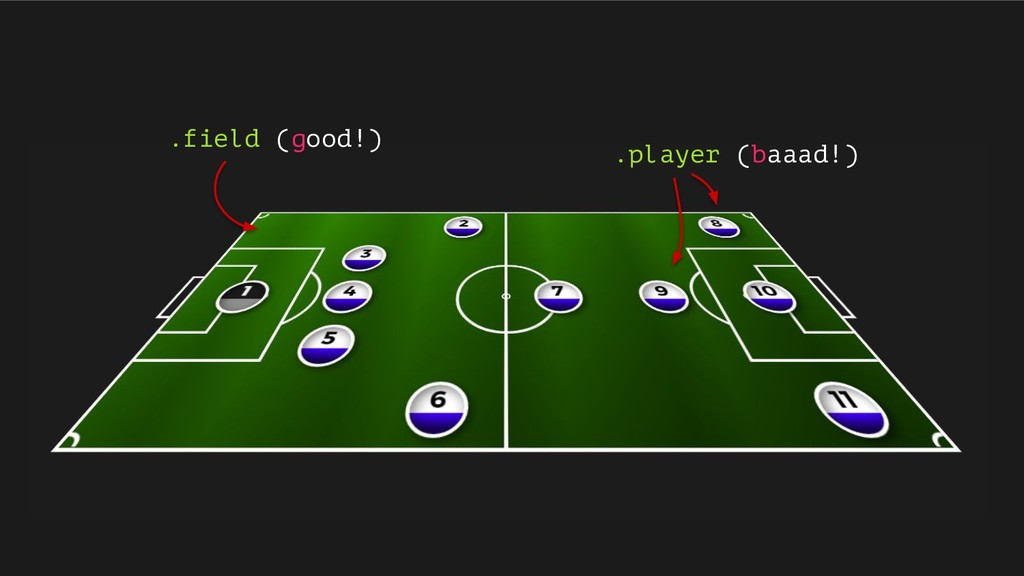.field (good!) .player (baaad!)