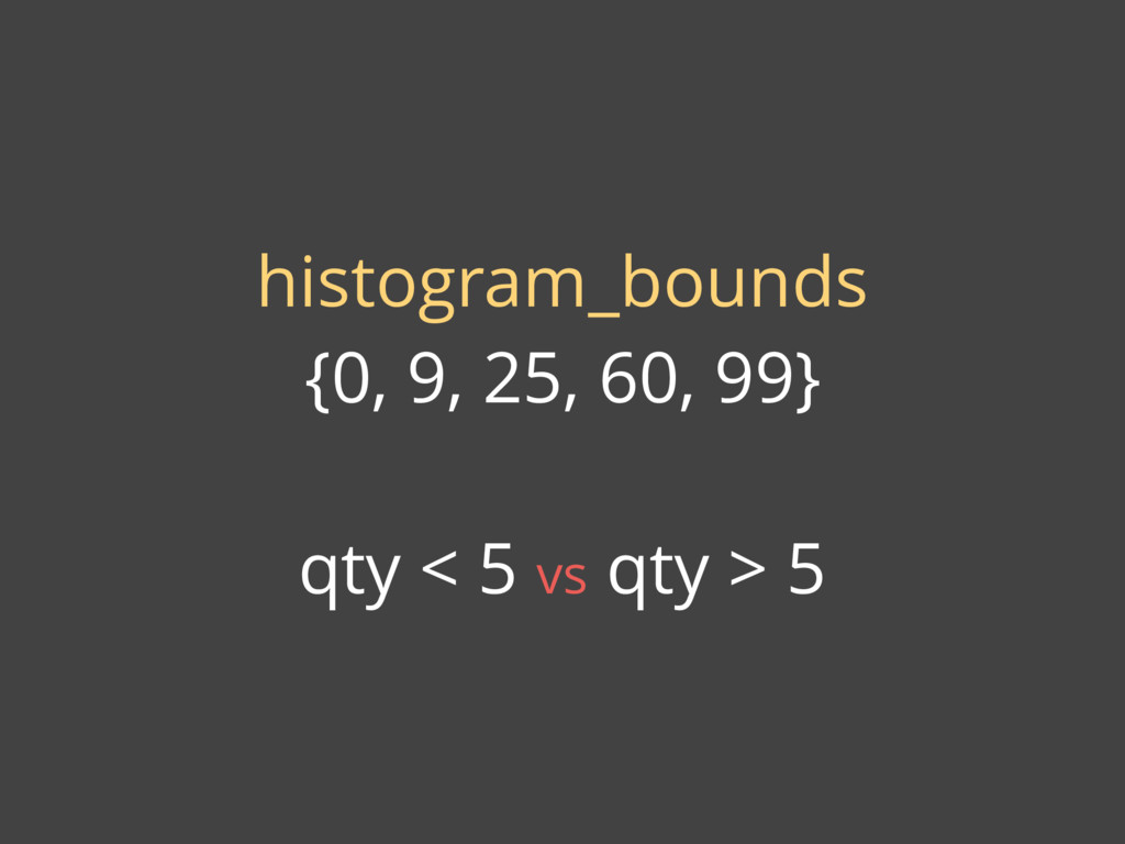 histogram_bounds {0, 9, 25, 60, 99} qty < 5 vs ...