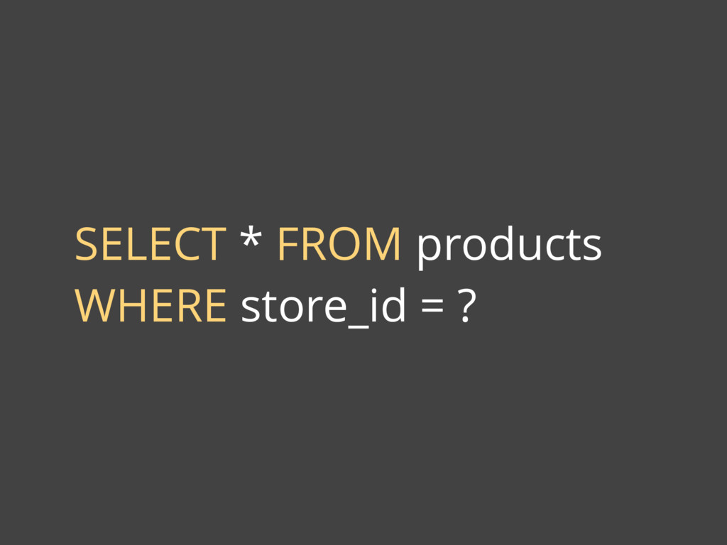 SELECT * FROM products WHERE store_id = ?