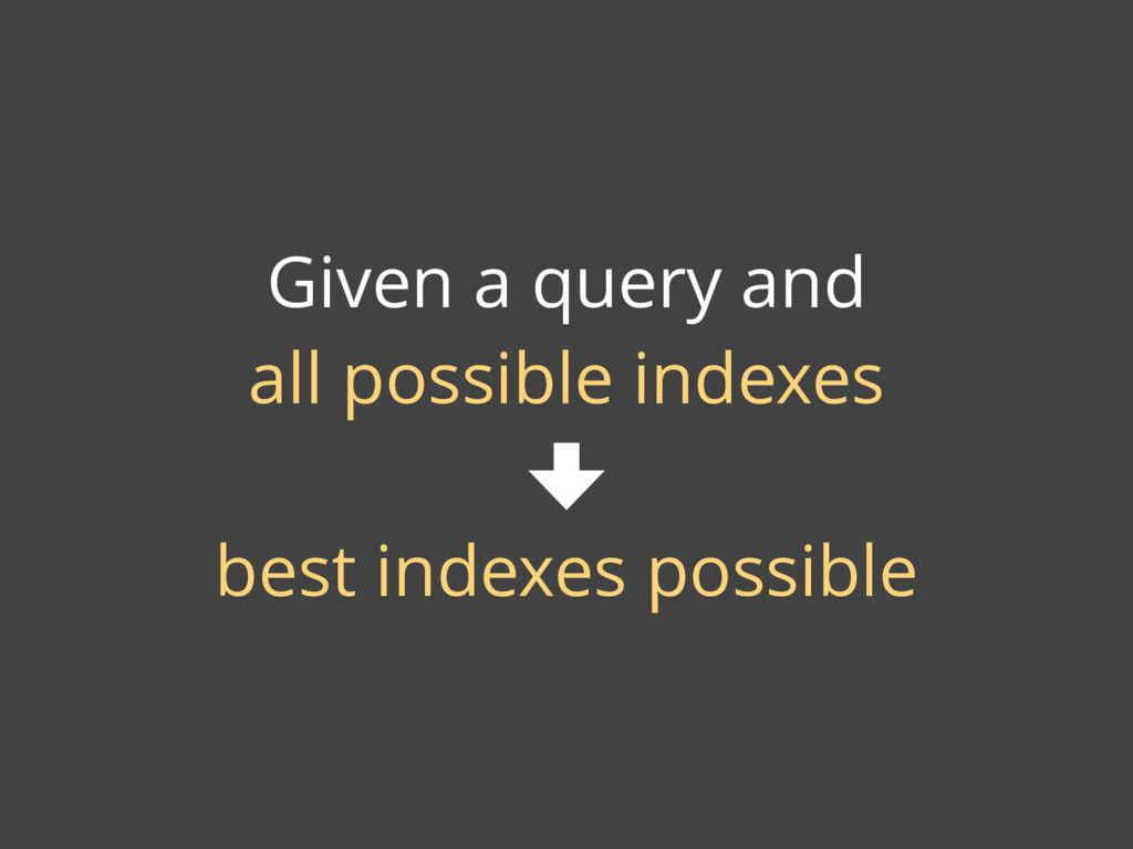 Given a query and all possible indexes best ind...