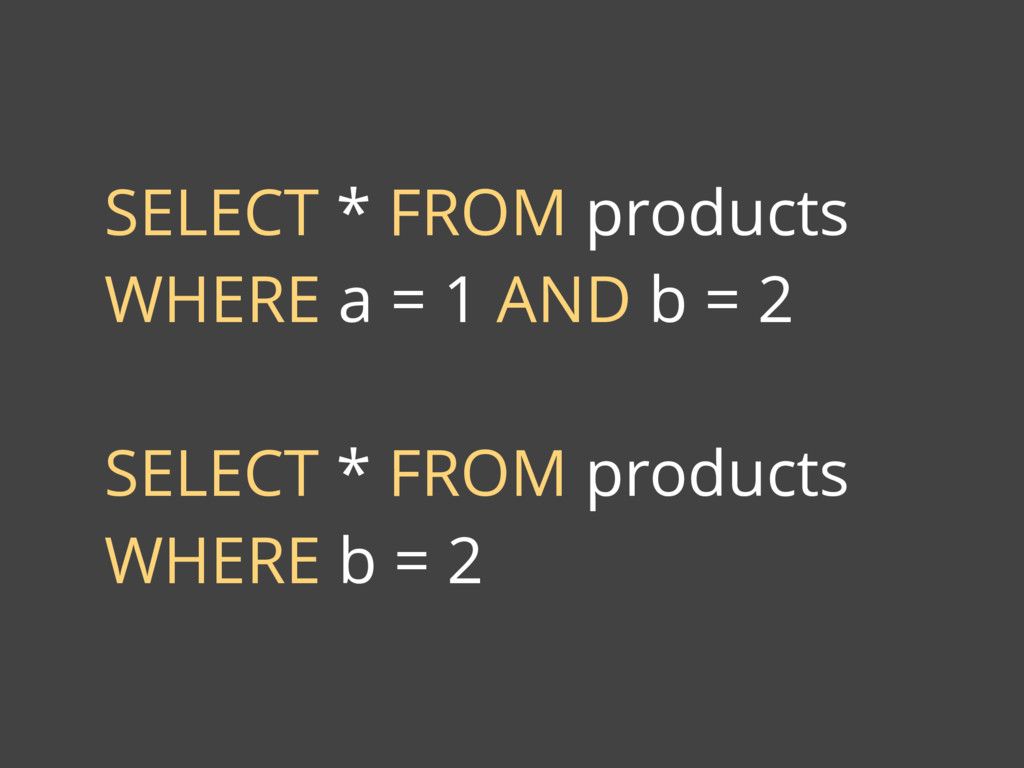 SELECT * FROM products WHERE a = 1 AND b = 2 SE...