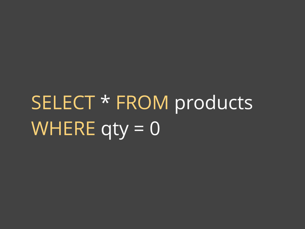 SELECT * FROM products WHERE qty = 0