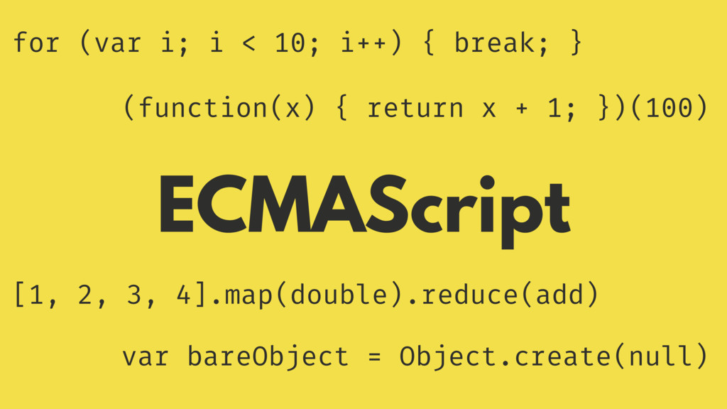 ECMAScript for (var i; i < 10; i++) { break; } ...