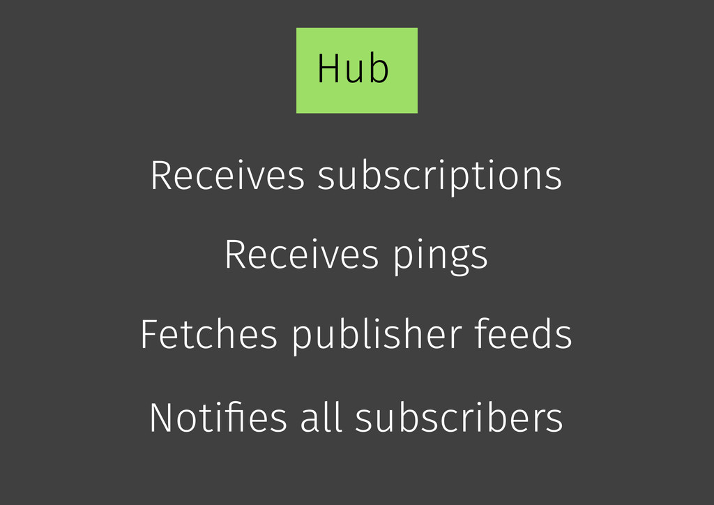 Hub Receives pings Fetches publisher feeds Rece...