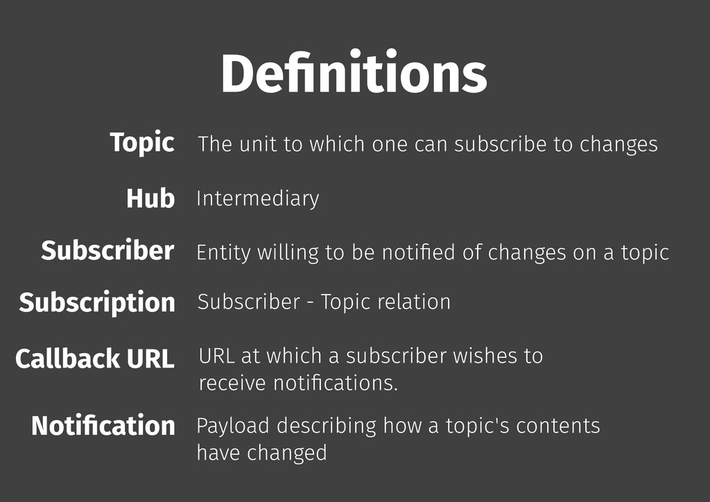 De�nitions Topic The unit to which one can subs...