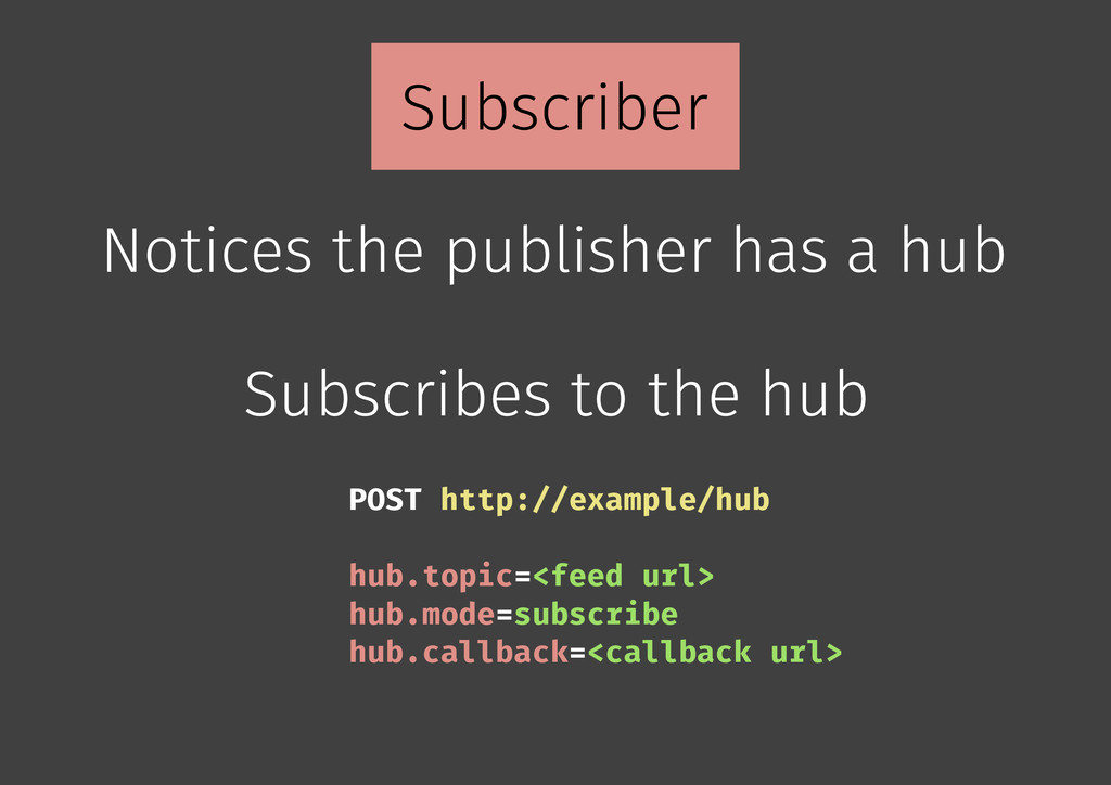 Subscriber Notices the publisher has a hub Subs...