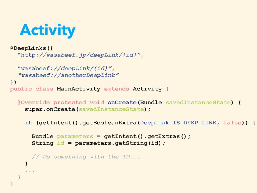 """Activity @DeepLinks({ """"http://wasabeef.jp/deepL..."""