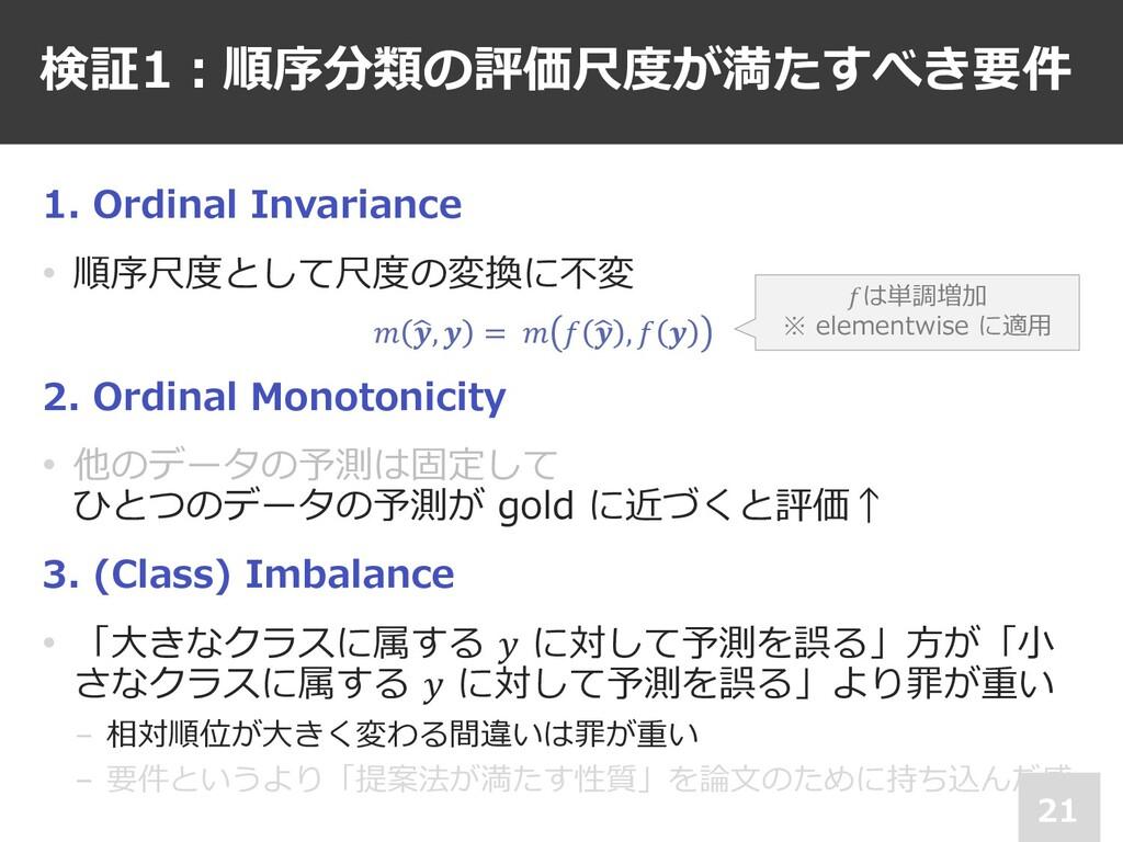 検証1︓順序分類の評価尺度が満たすべき要件 21 1. Ordinal Invariance ...