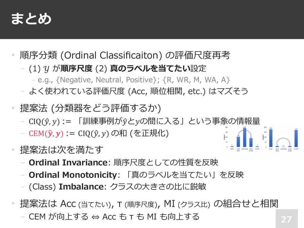 まとめ 27 • 順序分類 (Ordinal Classificaiton) の評価尺度再考 −...