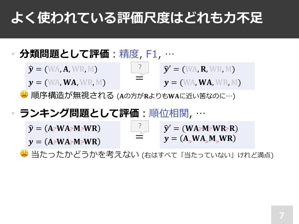 • 分類問題として評価︓精度, F1, … *  = (WA, , WR, M)  = (WA...