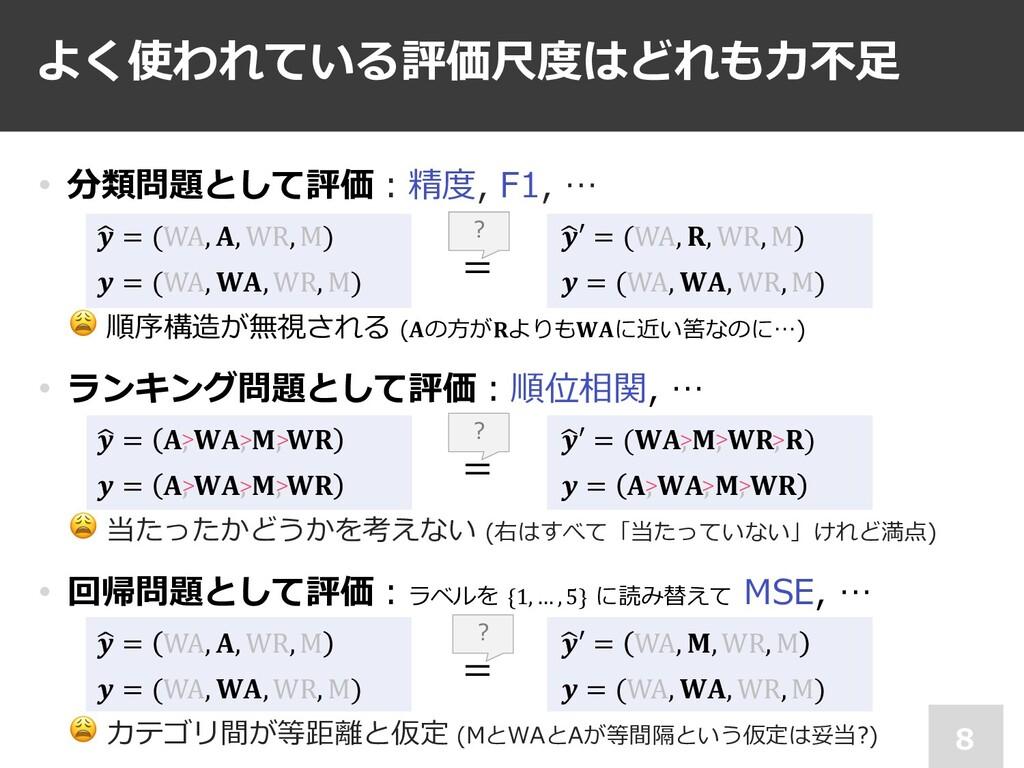 = • 分類問題として評価︓精度, F1, … *  = (WA, , WR, M)  = (...