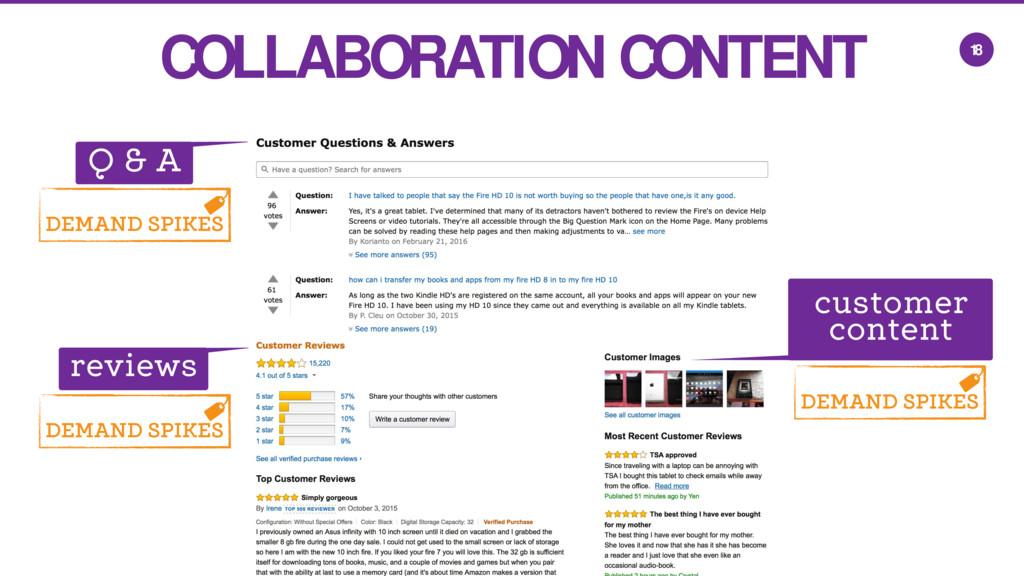 18 COLLABORATION CONTENT Q & A reviews customer...
