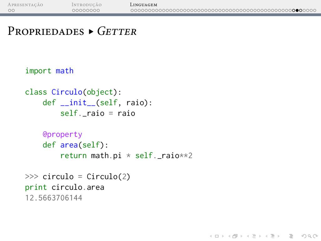 A I L P ▸ G import math class Circulo(object): ...