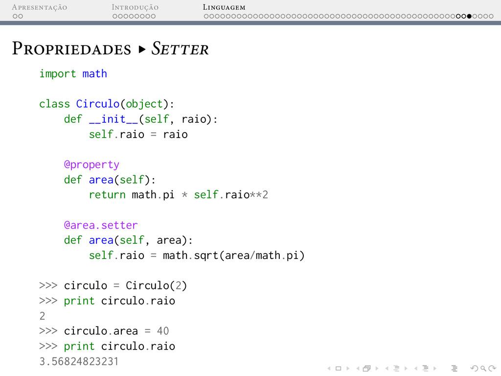A I L P ▸ S import math class Circulo(object): ...