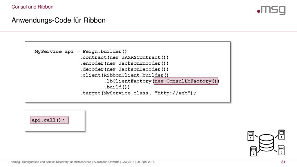 Consul und Ribbon Anwendungs-Code für Ribbon © ...
