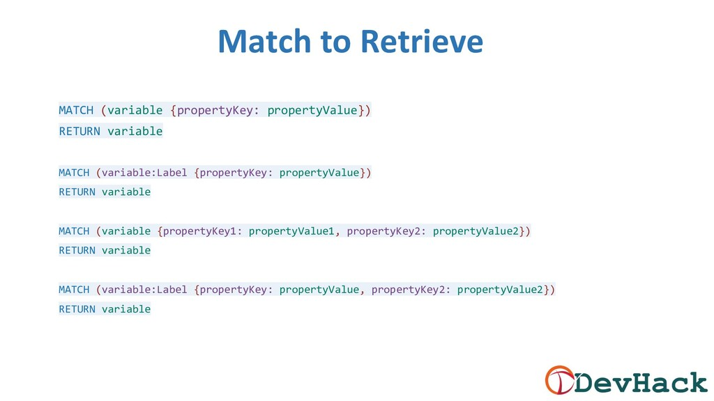 Match to Retrieve MATCH (variable {propertyKey:...