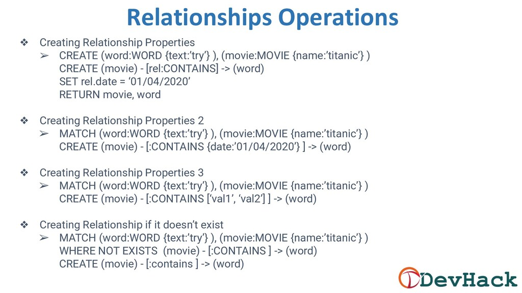 Relationships Operations ❖ Creating Relationshi...