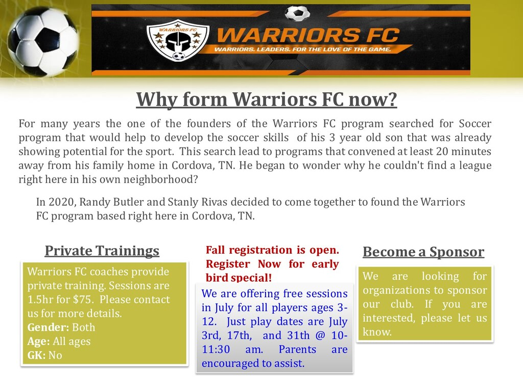 Why form Warriors FC now? For many years the on...