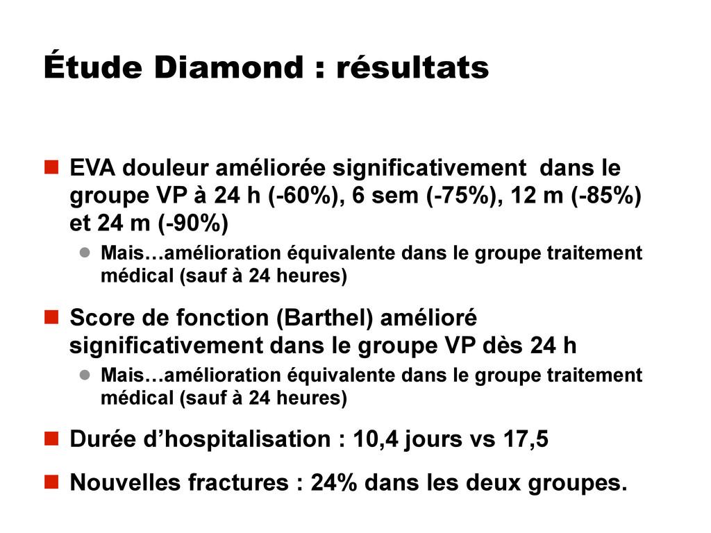 Étude Diamond : résultats  EVA douleur amélior...