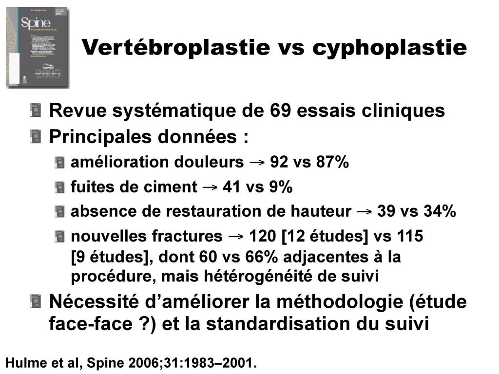Vertébroplastie vs cyphoplastie Revue systémati...