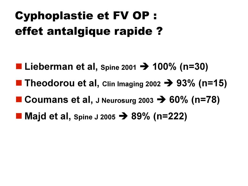 Cyphoplastie et FV OP : effet antalgique rapide...