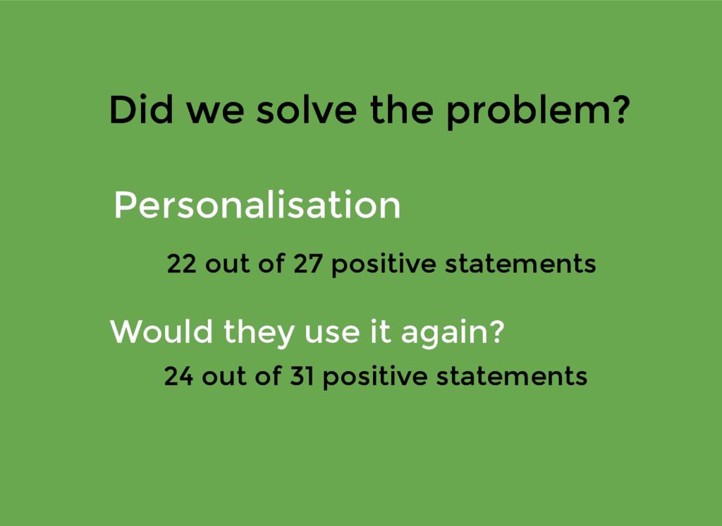 Did we solve the problem? Did we solve the prob...