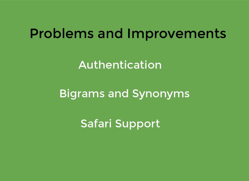 Problems and Improvements Problems and Improvem...